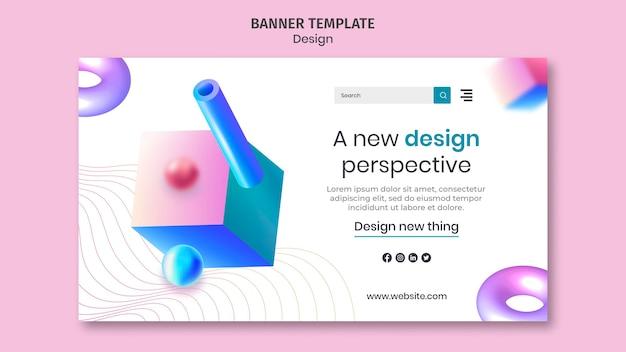 Sjabloon voor creatieve 3d-ontwerpen voor spandoek