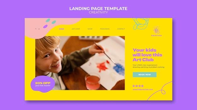 Sjabloon voor creatieve bestemmingspagina's voor kinderen