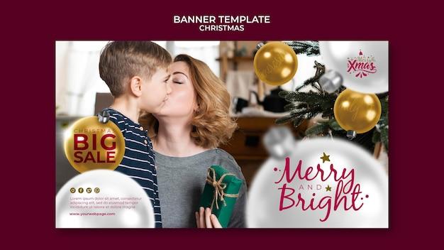 Sjabloon voor creatieve feestelijke kerst horizontale banner