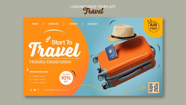 Sjabloon voor creatieve reizende bestemmingspagina's