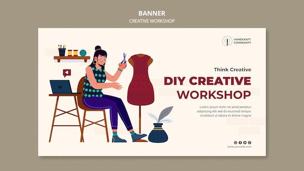 Sjabloon voor creatieve workshop horizontale spandoek