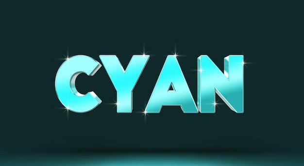 Sjabloon voor cyaan 3d-teksteffect