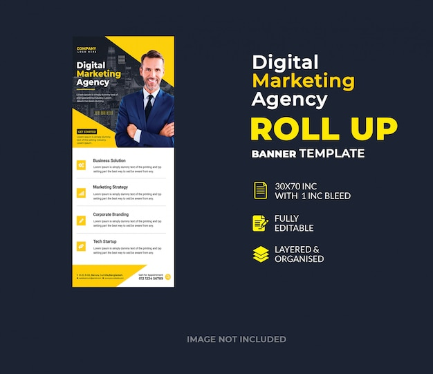 Sjabloon voor digitale marketing corporate roll-up spandoek