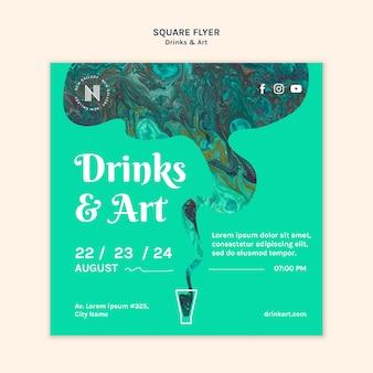 Sjabloon voor drankjes & kunst flyer