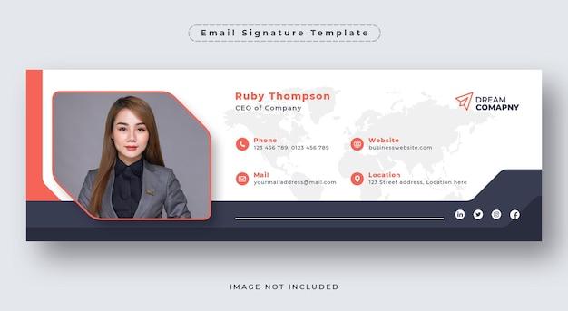Sjabloon voor e-mailhandtekening of e-mailvoettekst en omslag van sociale media