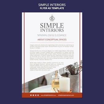 Sjabloon voor eenvoudige interieurs flyer