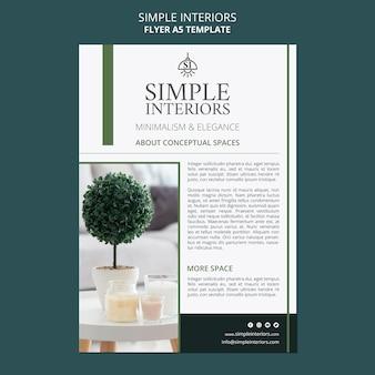Sjabloon voor eenvoudige interieurs folder met plant