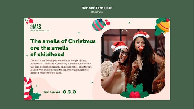Sjabloon voor feestelijke kerst horizontale banner