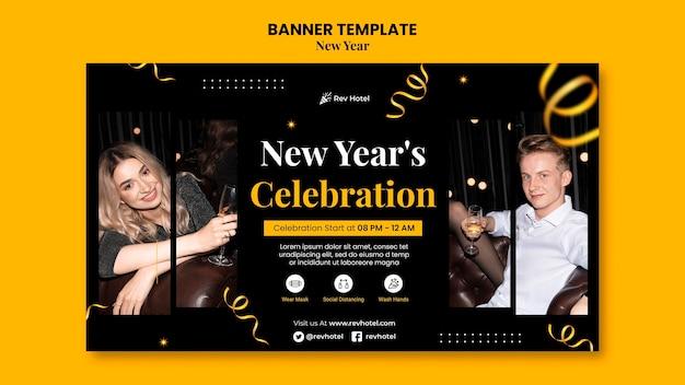 Sjabloon voor feestelijke oudejaarsavond horizontale banner