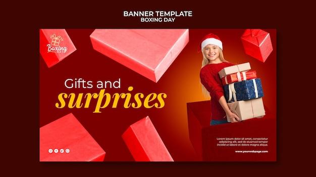Sjabloon voor feestelijke tweede kerstdag horizontale banner