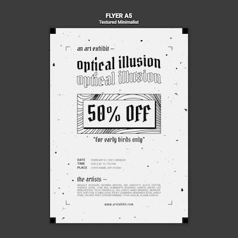 Sjabloon voor flyer met optische illusie kunsttentoonstelling