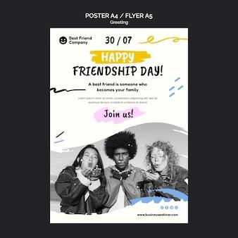 Sjabloon voor flyer voor gelukkige vriendschapsdag