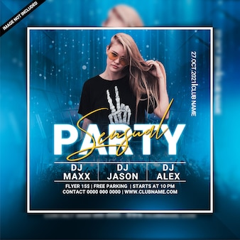 Sjabloon voor flyer voor sensueel feest dj clubfeest