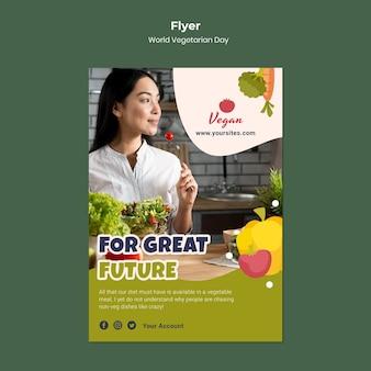 Sjabloon voor flyer voor wereldvegetarische dag