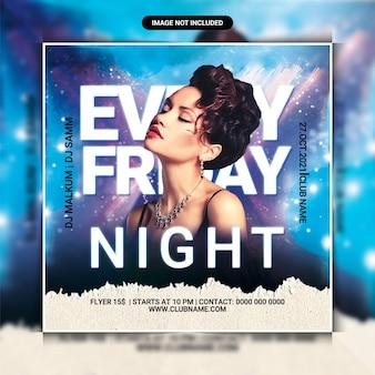 Sjabloon voor flyers voor elke vrijdagavond dj-feest