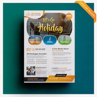 Sjabloon voor flyers voor reizen en vakantie