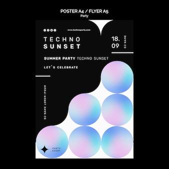Sjabloon voor flyers voor technofeesten