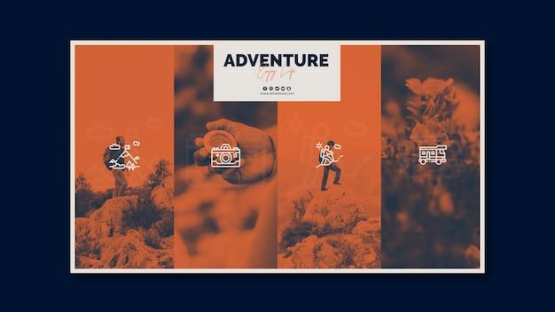 Sjabloon voor folder met avontuur concept