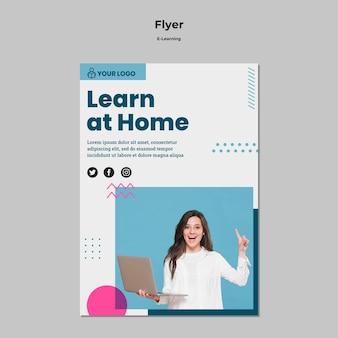 Sjabloon voor folder met e-learning concept