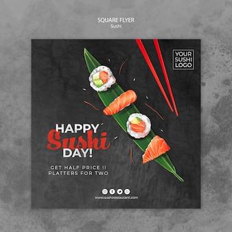 Sjabloon voor folder met sushi dag