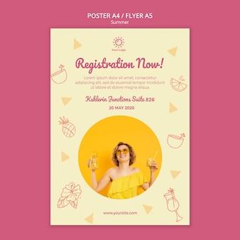 Sjabloon voor folder met zomer party concept