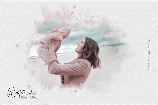 Sjabloon voor foto-effect met aquarelpenseel