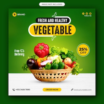 Sjabloon voor gezond eten en plantaardige sociale media