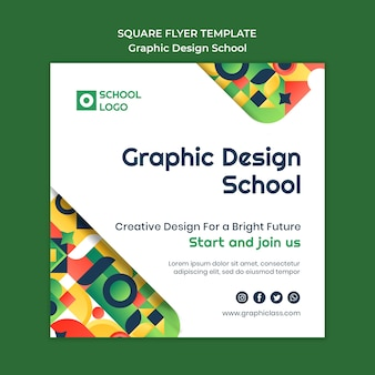 Sjabloon voor grafisch ontwerp school vierkante flyer