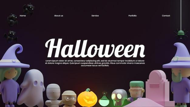 Sjabloon voor halloween-bestemmingspagina met 3d-rendering illustratieframe