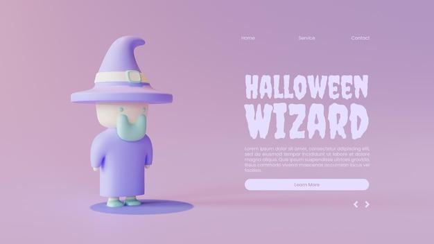 Sjabloon voor halloween-bestemmingspagina met 3d-renderingillustratie van de tovenaar