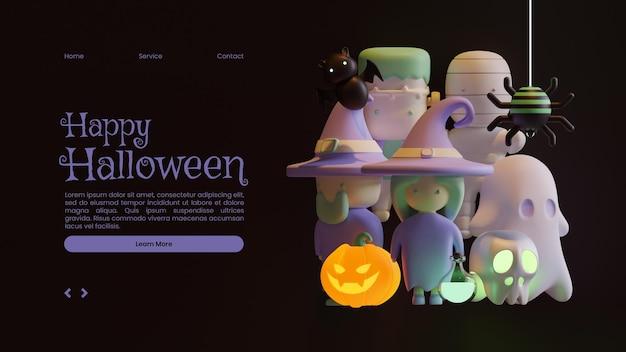 Sjabloon voor halloween-bestemmingspagina met 3d-renderingillustratie