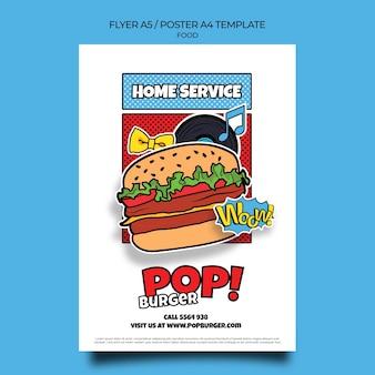 Sjabloon voor het afdrukken van pop-art eten