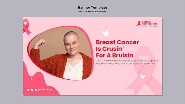 Sjabloon voor horizontaal spandoek over borstkanker