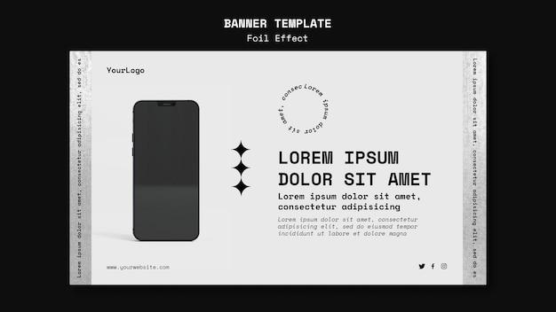 Sjabloon voor horizontaal spandoek voor technologie met folie-effect