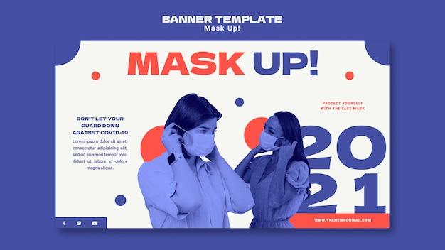 Sjabloon voor horizontale banner van 2021 maskeren