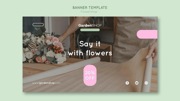 Sjabloon voor horizontale banner van bloemenwinkel