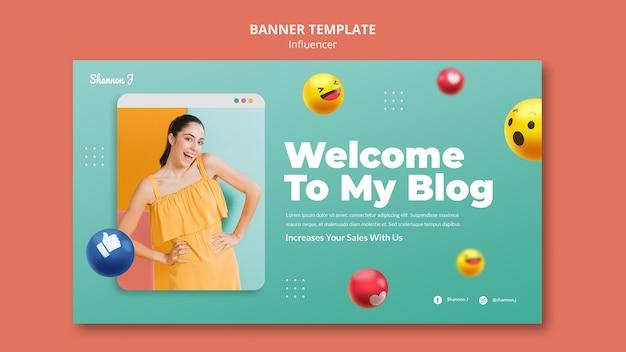 Sjabloon voor horizontale banner van blogger