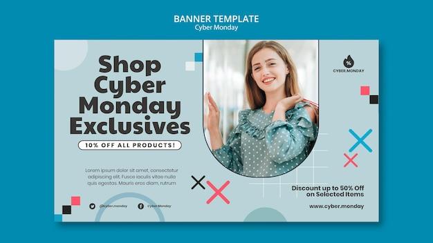 Sjabloon voor horizontale banner van cyber maandag