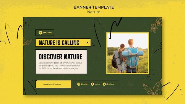 Sjabloon voor horizontale banner van de natuur verkennen