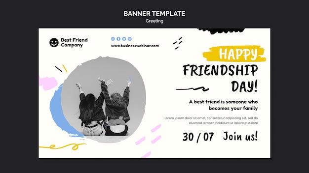Sjabloon voor horizontale banner van gelukkige vriendschapsdag