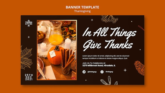 Sjabloon voor horizontale banner van happy thanksgiving
