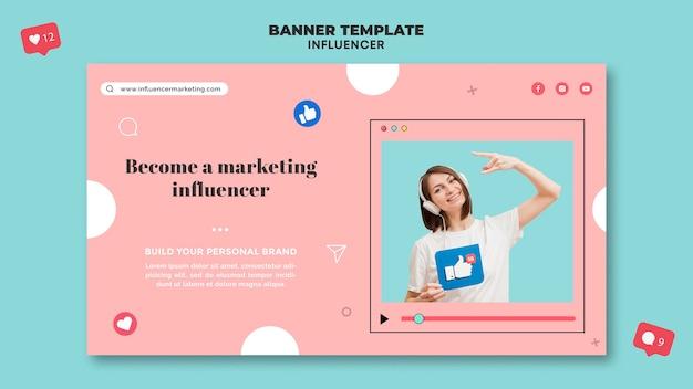 Sjabloon voor horizontale banner van influencer