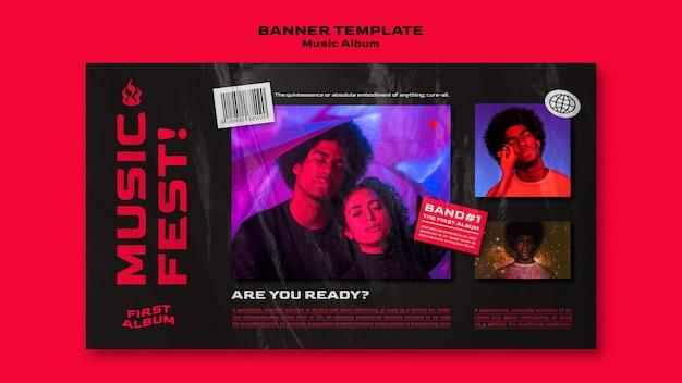 Sjabloon voor horizontale banner van muziekalbum