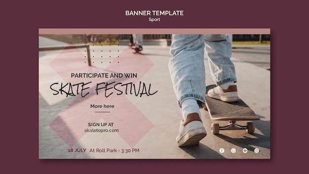 Sjabloon voor horizontale banner van skatefestival
