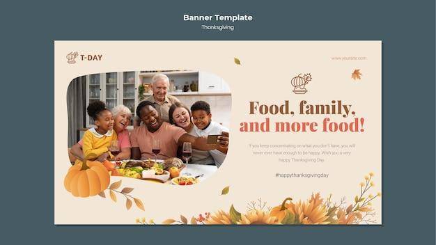 Sjabloon voor horizontale banner van thanksgiving-dag