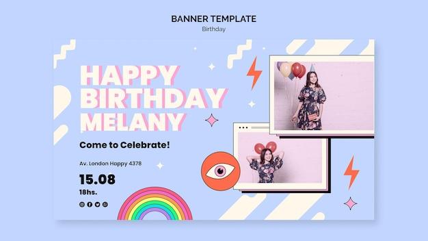 Sjabloon voor horizontale banner verjaardag