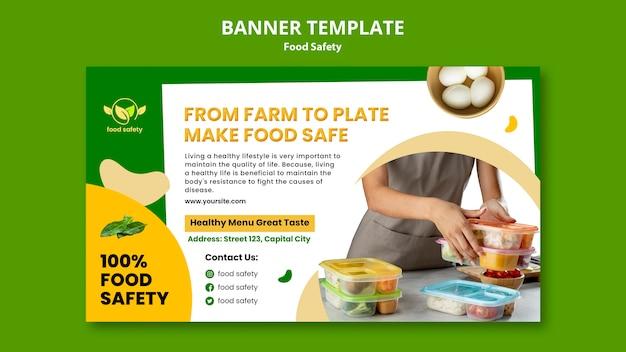 Sjabloon voor horizontale banner voedselveiligheid