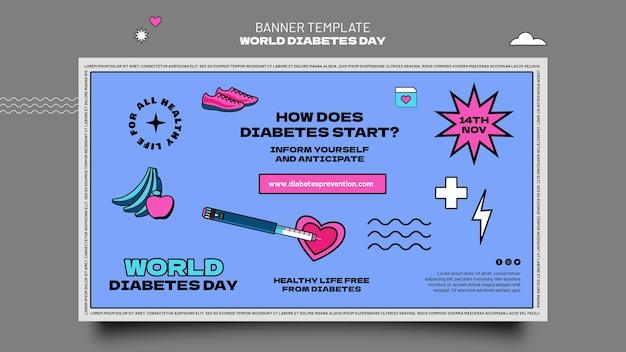 Sjabloon voor horizontale banner voor creatieve werelddiabetes