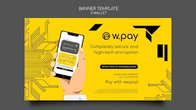 Sjabloon voor horizontale banner voor e-wallet