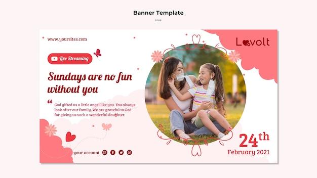 Sjabloon voor horizontale banner voor familie